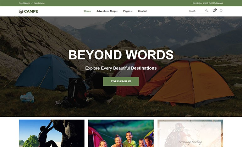 Campe  Camping  Adventure Shopify Theme