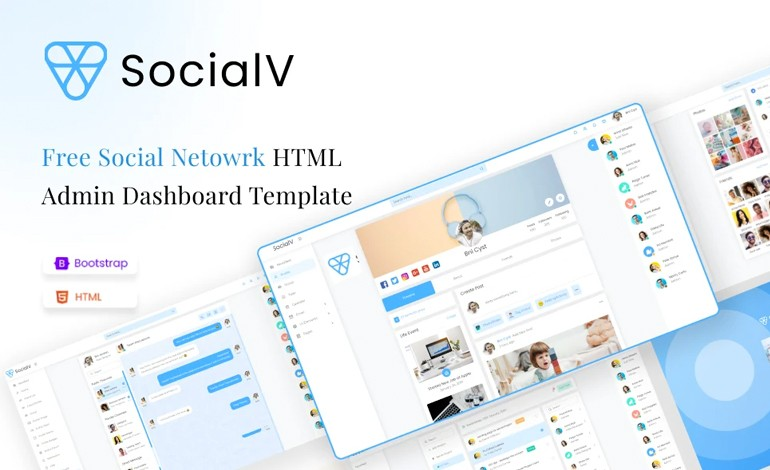 SocialV Lite Free Social Network HTML Admin Dashboard Template